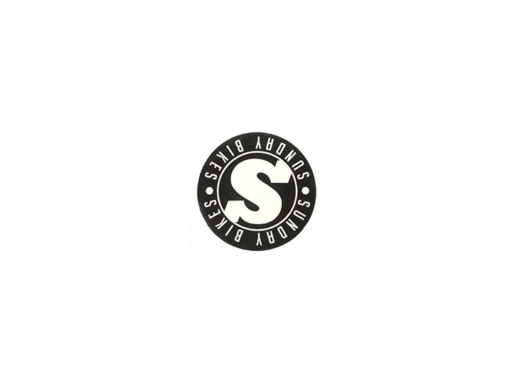SUNDAY COMPLETES BIKES DECALS S BADGE (HEADTUBE) STICKER -BLACK+WHITE-