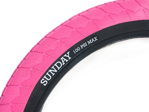 "SUNDAY CURRENT V2 BMX TIRE 2.4"" PINK + Black wall"