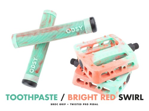 ODYSSEY TWISTED PRO PEDALS + BROC GRIP -Toothpaste/Bright Red Swirl- 패키지
